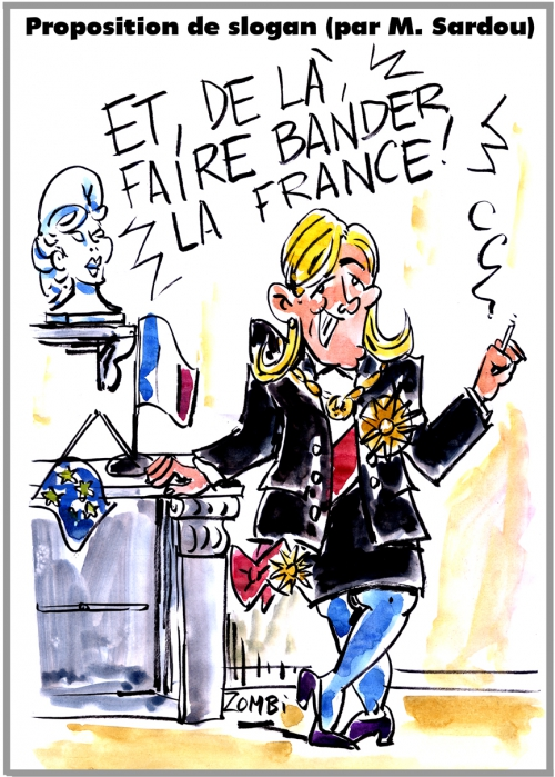 webzine,bd,zébra,fanzine,gratuit,bande-dessinée,caricature,marine,le pen,girl power,michel sardou,présidentielle,2017,slogan,dessin,presse,satirique,editorial cartoon,zombi