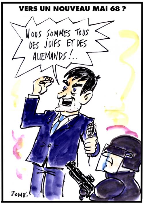 webzine,bd,gratuit,fanzine,bande-dessinée,caricature,manuel valls,mai 68,crs,juif,allemand,dessin,presse,satirique,editorial cartoon,zombi