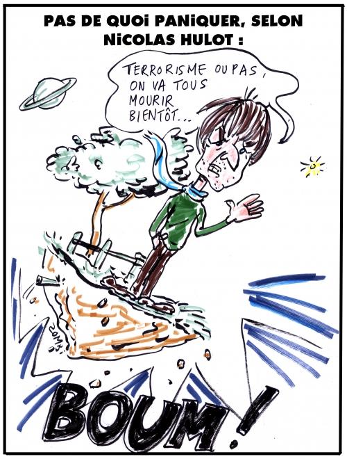 webzine,bd,zébra,gratuit,fanzine,bande-dessinée,caricature,nicolas hulot,terrorisme,panique,fin du monde,dessin,presse,editorial cartoon,zombi