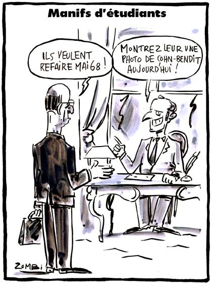 webzine,bd,zébra,gratuit,fanzine,bande-dessinée,caricature,mai 68,étudiants,manifestation,blanquer,emmanuel macron,cohn-bendit,dessin,presse,satirique,editorial cartoon,zombi