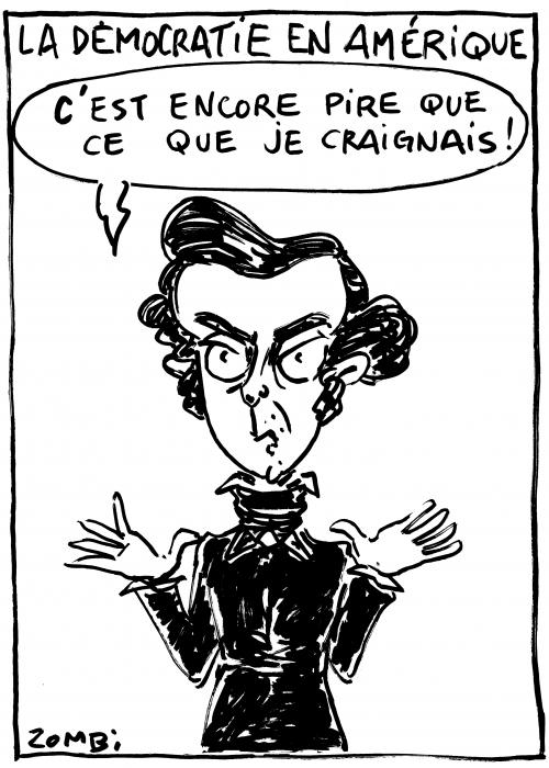 webzine,bd,caricature,zébra,gratuit,fanzine,bande-dessinée,caricature,alexis de tocqueville,démocratie,amérique,usa,élections,dessin,presse,satirique,zombi,editorial cartoon