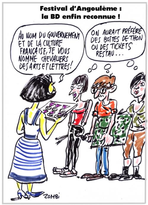 webzine,bd,zébra,gratuit,fanzine,bande-dessinée,caricature,festival d'angoulême,fleur pellerin,chevalier des arts et lettres,dessin,presse,satirique,editorial cartoon,zombi