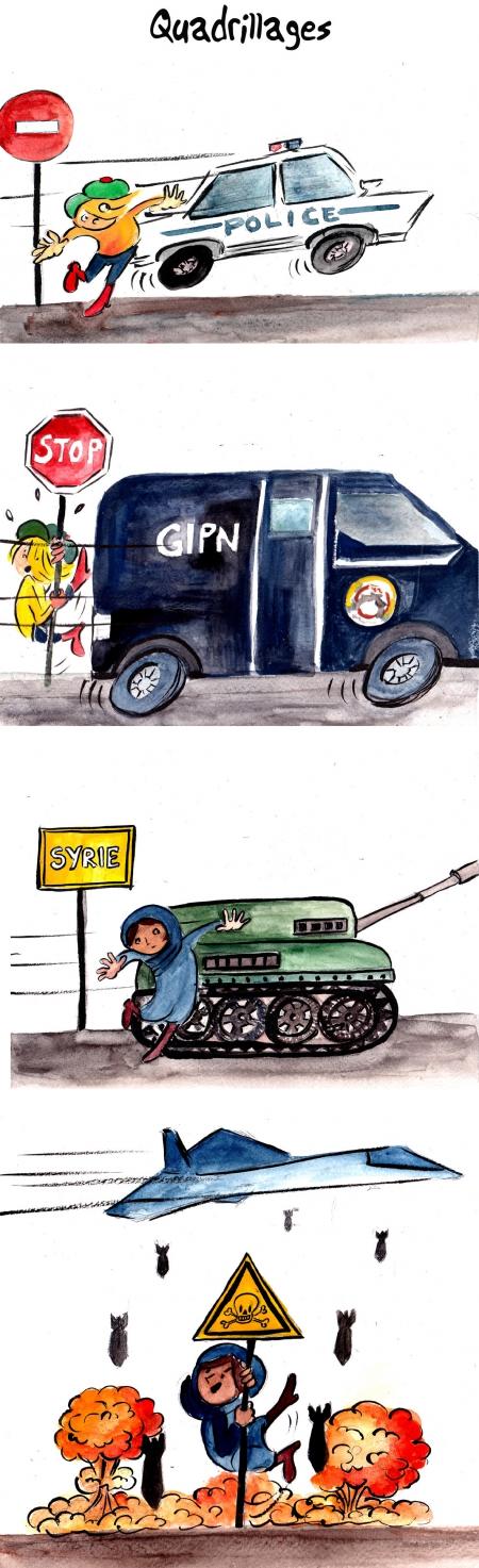 webzine,bd,gratuit,zébra,bande-dessinée,fanzine,strip,lola,aurélie dekeyser,humour,police,quadrillage,gipn,bombardement