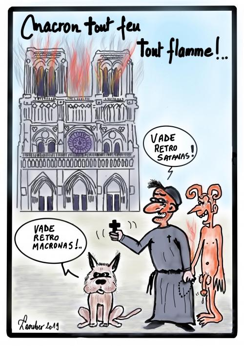webzine,bd,zébra,gratuit,fanzine,bande-dessinée,caricature,notre-dame,paris,incendie,diable,emmanuel macron,laouber,dessin,presse,satirique,editorial cartoon