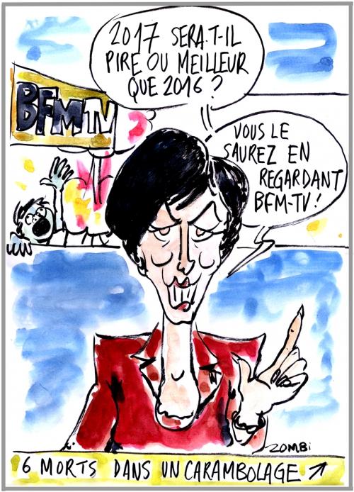 webzine,bd,zébra,gratuit,fanzine,bande-dessinée,caricature,voeux 2017,bfm-tv,ruth elkrief,dessin,presse,editorial cartoon,zombi