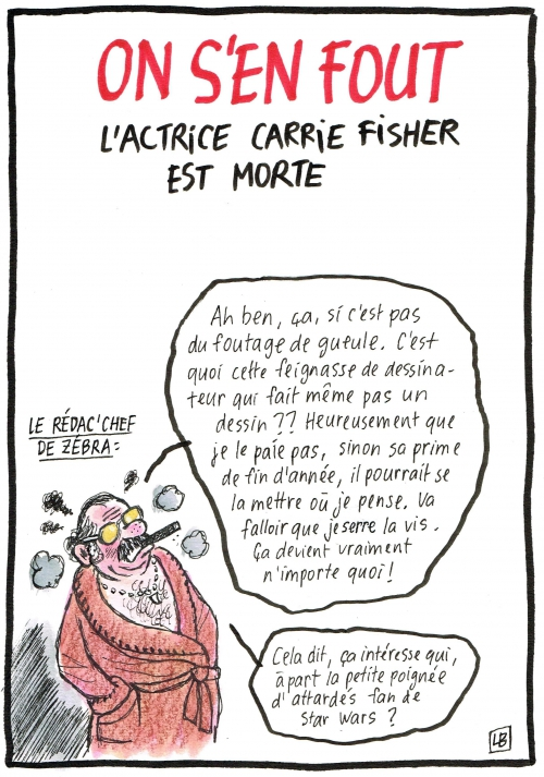 webzine,bd,zébra,gratuit,fanzine,bande-dessinée,caricature,carrie fisher,star wars,mort,dessin,presse,satirique,editorial cartoon,lb