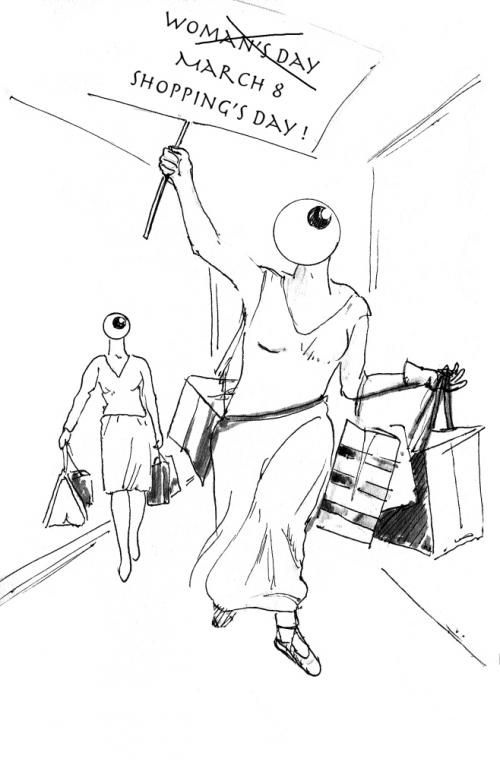 webzine,bd,gratuit,fanzine,zébra,bande-dessinée,michel soucy,femme,shopping,journée de la femme,dessin