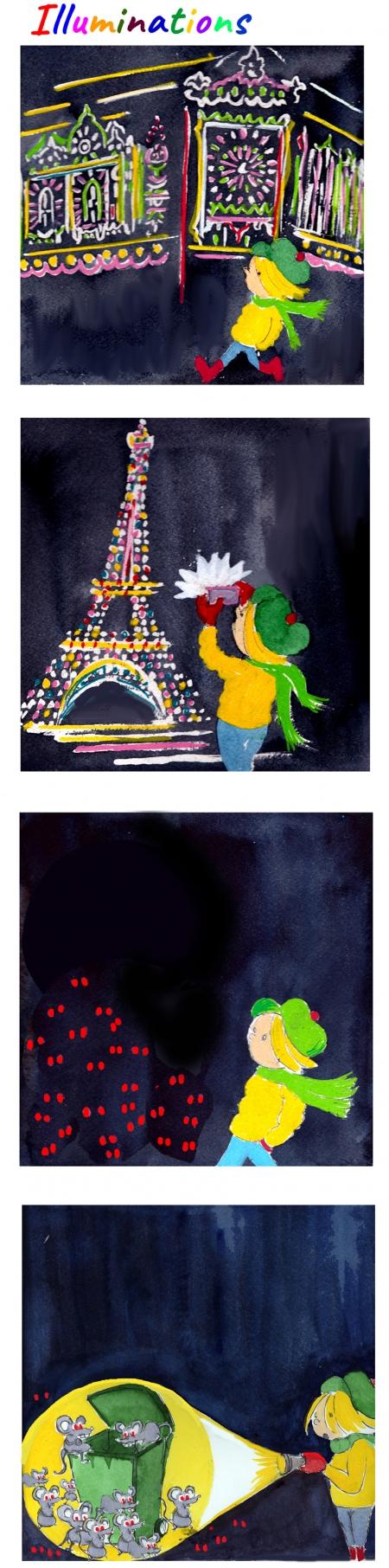 webzine,bd,gratuit,zébra,bande-dessinée,fanzine,strip,lola,aurélie dekeyser,paris,rats,illuminations,tour eiffel,lumière,ville-lumière