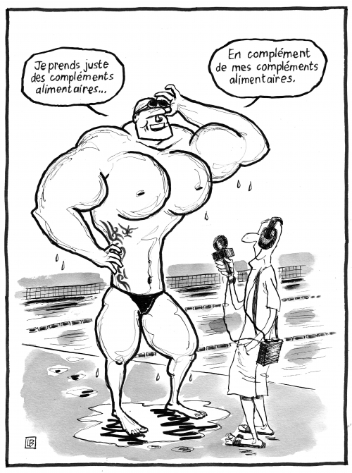 webzine,bd,zébra,gratuit,fanzine,bande-dessinée,caricature,lb,florent manaudou,créatine,alimentation,sportif,sprinter,natation,dessin,presse,satirique,editorial cartoon