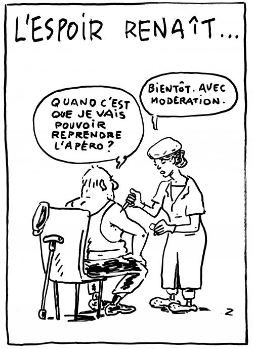 webzine,bd,zébra,gratuit,fanzine,bande-dessinée,caricature,covid,coronavirus,vaccin,vaccination,apéro,espoir,dessin,presse,satirique,editorial cartoon,zombi