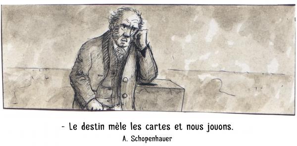 webzine,bd,zébra,gratuit,fanzine,bande-dessinée,caricature,arthur schopenhauer,destin,citation,portrait,dessin,satire