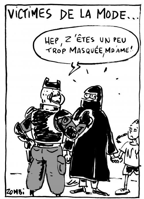 webzine,bd,zébra,gratuit,fanzine,bande-dessinée,caricature,dessin,presse,satirique,editorial cartoon,zombi,épidémie,coronavirus,covid,masque,voile,islamique