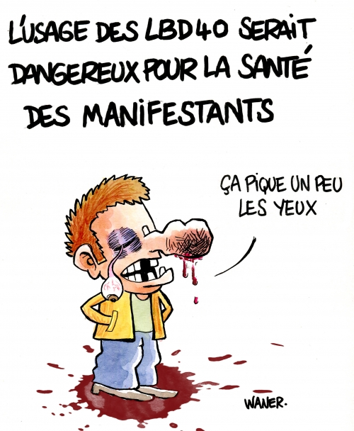 webzine,bd,gratuit,zébra,fanzine,bande-dessinée,caricature,manifestation,lbd40,flash ball,manifestant,éborgné,dessin,presse,satirique,editorial cartoon,waner