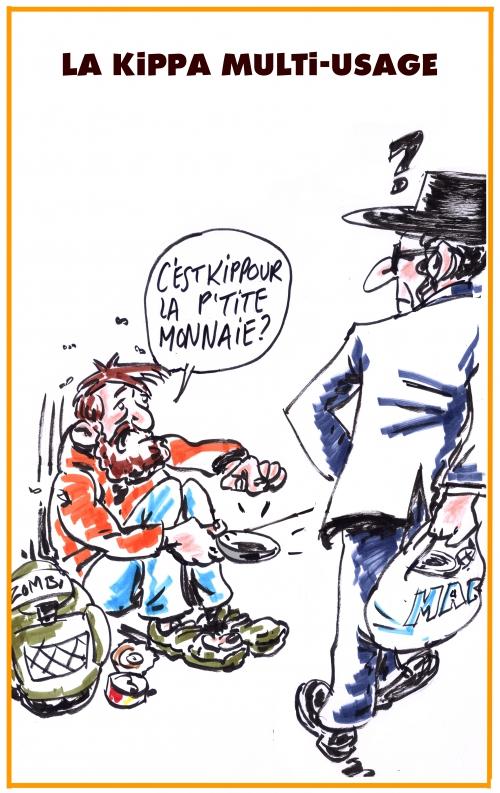webzine,bd,zébra,gratuit,fanzine,bande-dessinée,caricature,kippa,juif,mendiant,dessin,presse,satirique,editorial cartoon,zombi