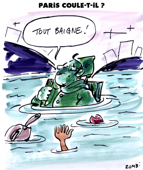 webzine,gratuit,zébra,bd,bande-dessinée,caricature,zouave,alma,pont,paris,crue,inondation,françois hollande,dessin,presse,satirique,editorial cartoon,zombi