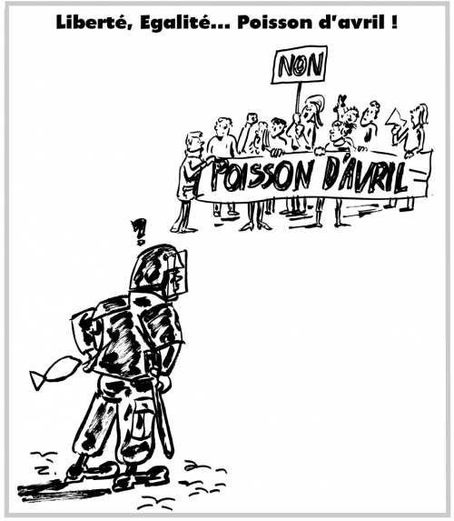 webzine,bd,zébra,gratuit,fanzine,bande-dessinée,caricature,1er avril,crs,manifestation,étudiants,poisson d'avril,banderole,travail,dessin,presse,satirique,editorial cartoon,zombi
