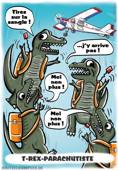 webzine,gratuit,bd,zébra,bande-dessinée,fanzine,wschinski,allemand,gag,humbug,comix,parachutisme,t-rex,dinosaure