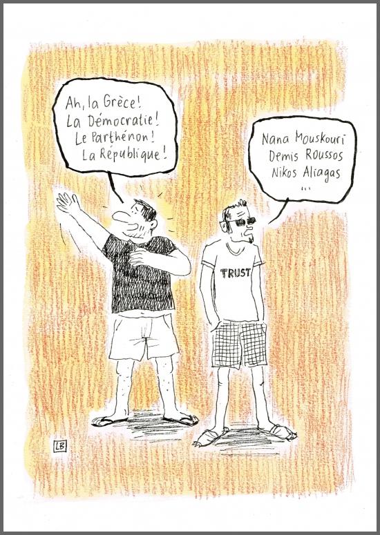 webzine,bd,gratuit,zébra,fanzine,bande-dessinée,caricature,grèce,lb,demis roussos,nana mouskouri,nikos aliagas,république,parthénon,dessin,presse,satirique,editorial cartoon