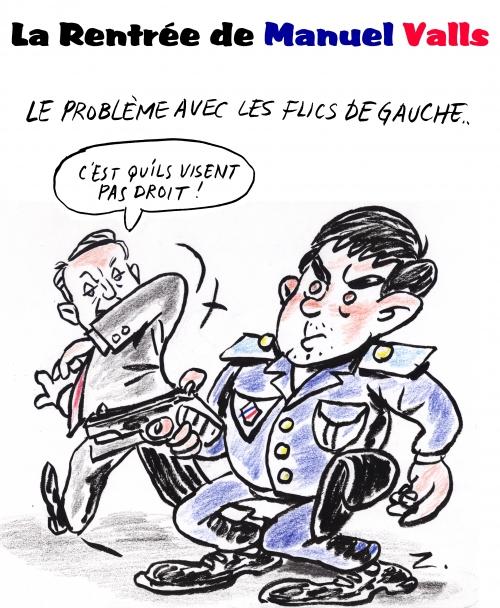 webzine,gratuit,bd,zébra,bande-dessinée,caricature,editorial cartoon,manuel valls,flic,gauche,jean-marc-ayrault,rentrée,dessin,presse