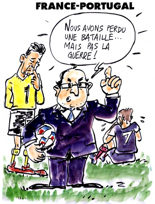 webzine,bd,gratuit,zébra,fanzine,bande-dessinée,caricature,françois hollande,football,france-portugal,hugo lloris,euro 2016,dessin,presse,editorial cartoon,zombi