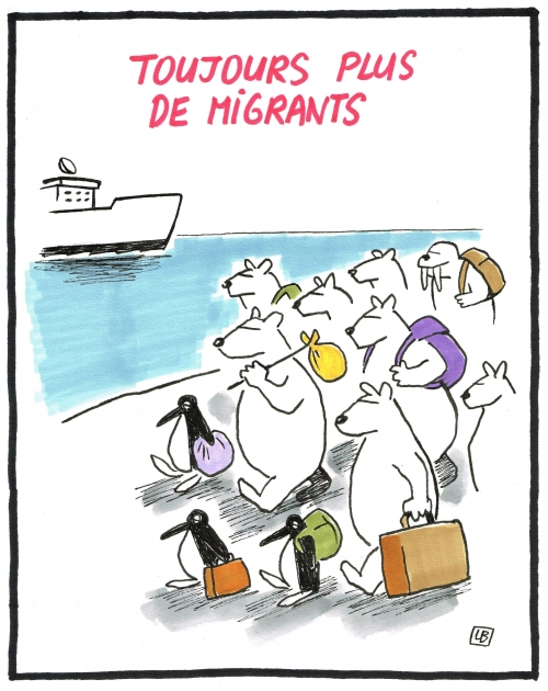 webzine,bd,zébra,gratuit,fanzine,bande-dessinée,caricature,migrants,banquise,climat,dessin,presse,satirique,editorial cartoon,énigmatique lb
