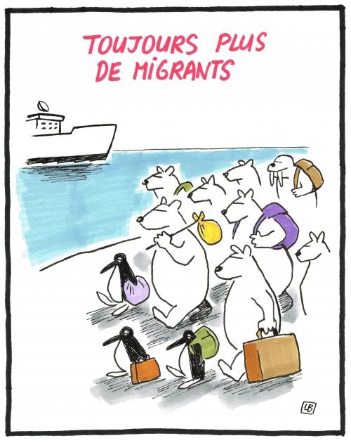 webzine,bd,zébra,gratuit,fanzine,bande-dessinée,caricature,migrants,banquise,climat,dessin,presse,satirique,editorial cartoon,énigmatique lb