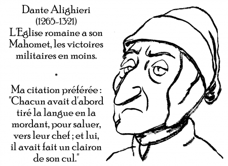 webzine,zébra,gratuit,bd,fanzine,bande-dessinée,antistyle,littéraire,critique,littérature,portrait,écrivain,caricature,citation,dante,alighieri,mahomet,clairon,église romaine,catholicisme