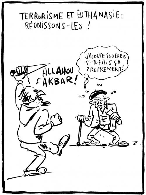 webzine,bd,zébra,fanzine,gratuit,bande-dessinée,caricature,terrorisme,allahou akbar,euthanasie,dessin,presse,satirique,editorial cartoon,zombi