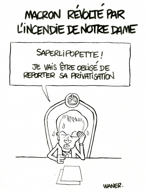 webzine,bd,caricature,zébra,fanzine,bande-dessinée,caricature,emmanuel macron,notre-dame,dessin,presse,saperlipopette,incendie,privatisation,waner,editorial cartoon