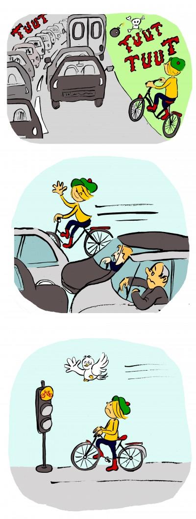 fanzine,zébra,bd,bande-dessinée,lola,strip,aurélie dekeyser,embouteillage,voitures,vélo,oiseau,liberté