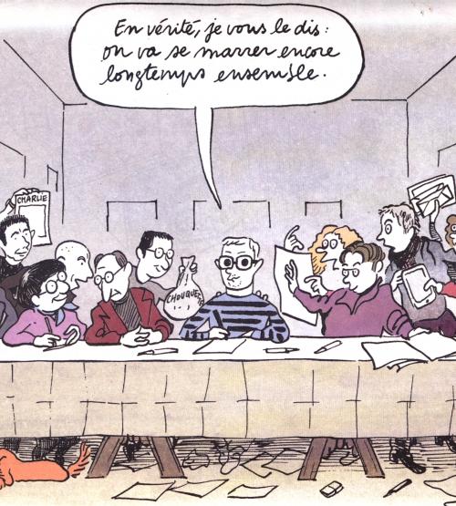webzine,bd,zébra,gratuit,fanzine,bande-dessinée,actualité,janvier 2016,revue de presse,charlie-hebdo,fabrice nicolino,jean-michel apathie,europe 1,riss,allah,mahomet,laïcité,catherine meurisse,charb,portrait,ironique,cène,cabu,antimilitariste,festival,angoulême,riad sattouf