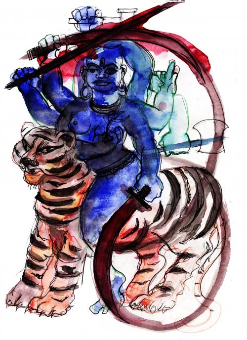 webzine,bd,gratuit,zébra,fanzine,illustration,bande-dessinée,dessin,louise asherson,carnet,durga,déesse,hindoue,inaccessible