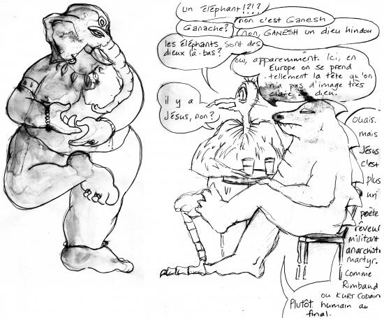 fanzine,webzine,zébra,bd,bande-dessinée,illustration,dessin,croquis,carnet,louise asherson,ganesh,éléphant