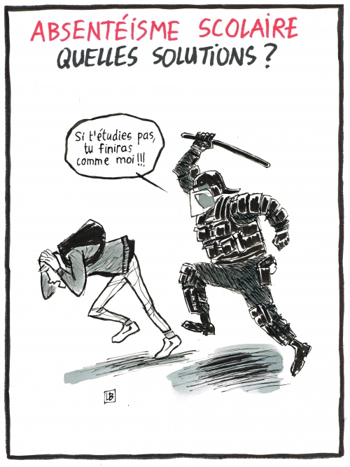 webzine,bd,fanzine,zébra,gratuit,bande-dessinée,caricature,absentéisme,scolaire,crs,charge,matraque,dessin,presse,satirique,editorial cartoon