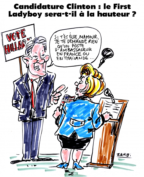 webzine,bd,zébra,gratuit,fanzine,bande-dessinée,caricature,hillary clinton,bill,présidentielle,usa,first ladyboy,dessin,presse,satirique,editorial cartoon,zombi