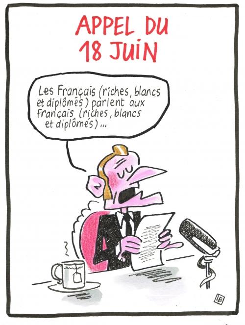 webzine,bd,zébra,fanzine,gratuit,bande-dessinée,caricature,18-juin,appel,emmanuel macron,dessin,presse,satirique,editorial cartoon,lb,siné-mensuel