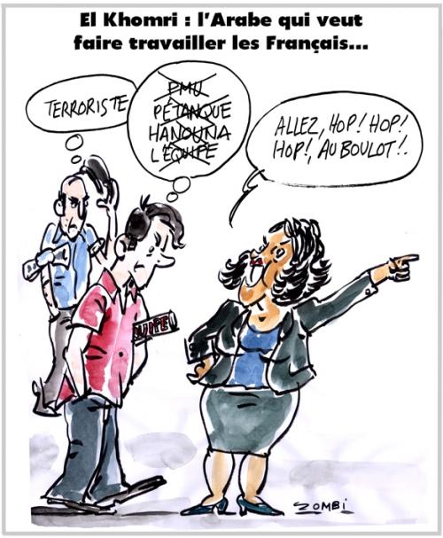 webzine,bd,zébra,gratuit,fanzine,bande-dessinée,caricature,myriam el khomri,ministre,travail,arabe,français,dessin,presse,satirique,editorial cartoon,zombi