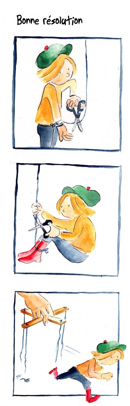 webzine,bd,gratuit,zébra,bande-dessinée,fanzine,strip,lola,aurélie dekeyser,bonnes résolutions,2018,nouvelle année,marionnette