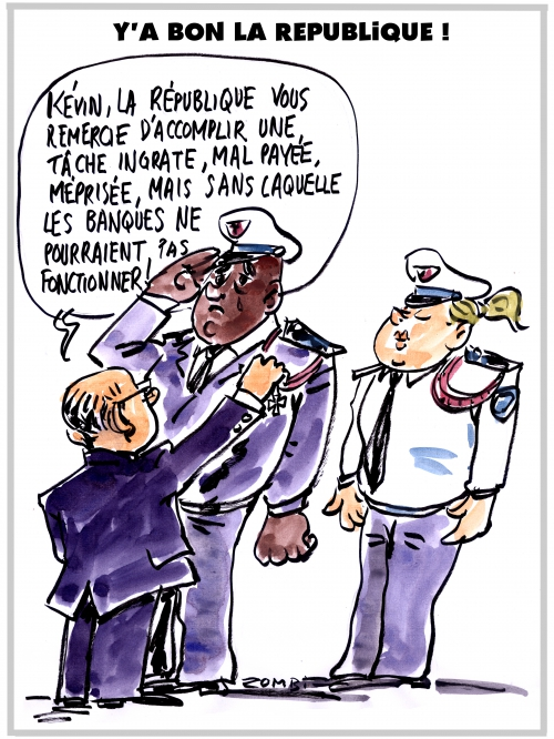 webzine,zébra,gratuit,bd,fanzine,bande-dessinée,caricature,kévin philippy,bernard cazeneuve,police,médaille,république,dessin,presse,editorial cartoon,satirique,zombi