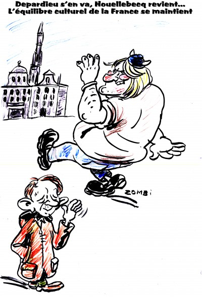 fanzine,zébra,bd,bande-dessinée,humour,caricature,gérard depardieu,michel houellebecq,zombi