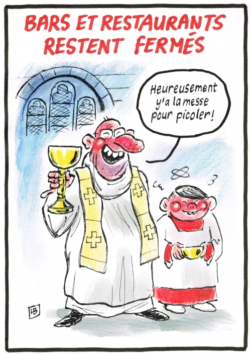 webzine,bd,zébra,gratuit,fanzine,bande-dessinée,caricature,messe,catholique,vin,confinement,coronavirus,épidémie,confinement,dessin,presse,satirique,editorial cartoon,énigmatique lb,siné-mensuel