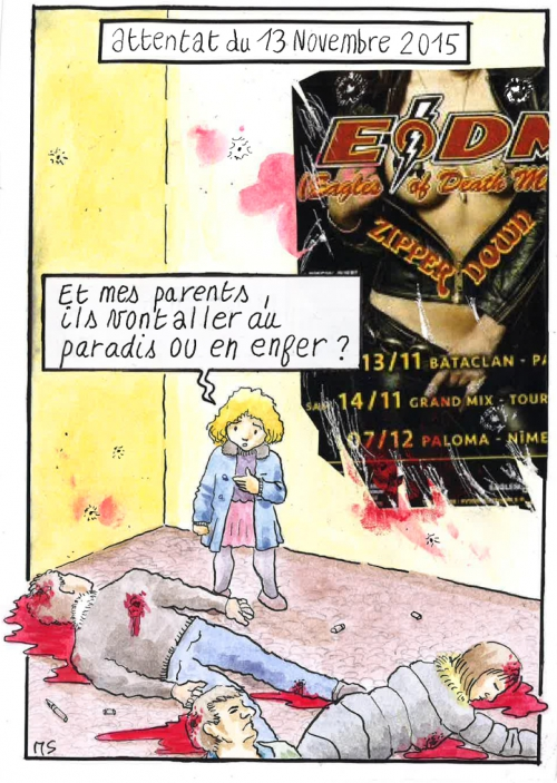 webzine,bd,zébra,fanzine,bande-dessinée,caricature,dessin,presse,attentat,paris,bataclan,eagles of death metal,satirique,editorial cartoon