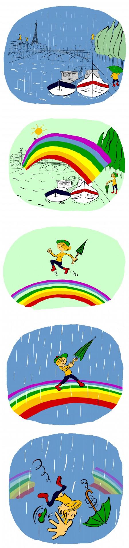 fanzine,zebra,bande dessinée,bd,lola,strip,arc en ciel,paris,seine,pluie,aurélie dekeyser