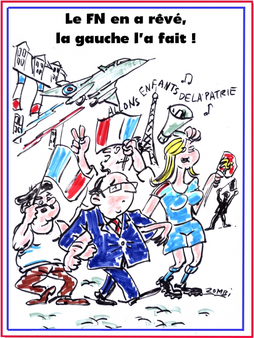 webzine,bd,zébra,fanzine,gratuit,bande-dessinée,caricature,françois hollande,hommage national,27 novembre,drapeau,fn,nationalisme,dessin,presse,satirique,editorial cartoon