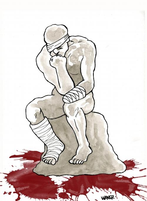webzine,bd,zébra,gratuit,bande-dessinée,caricature,penseur,rodin,violences policières,waner,dessin,presse,satirique,siné-mensuel