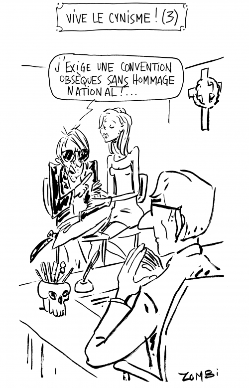 webzine,bd,zébra,fanzine,gratuit,bande-dessinée,caricature,websérie,cynisme,zombi,obsèques,jacques dutronc,hommage national,dessin,presse,satirique
