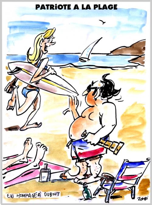 webzine,bd,zébra,fanzine,gratuit,bande-dessinée,caricature,françois hollande,plage,patriote,patriotisme,dessin,presse,satirique,editorial cartoon,zombi,dubout,hommage