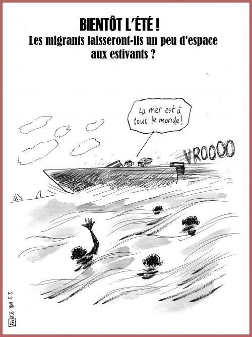 webzine,zébra,bd,gratuit,fanzine,bande-dessinée,caricature,lb,immigrants,plage,dessin,presse,satirique,editorial cartoon
