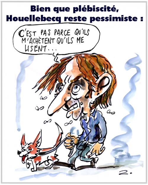webzine,zébra,bd,gratuit,fanzine,bande-dessinée,caricature,michel houellebecq,hitlérien,pessimiste,dessin,presse,satirique,editorial cartoon,zombi