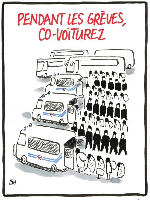 webzine,bd,zébra,fanzine,bande-dessinée,caricature,crs,grèves,covoiturage,migrants,dessin,presse,satirique,editorial cartoon,lb,siné-mensuel